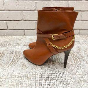Lauren Ralph Lauren Brown Gold Chain Ankle Booties